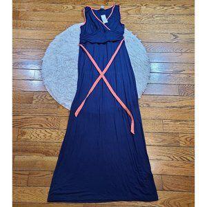NWT Nautica Blue Sleeveless Belted Maxi Dress